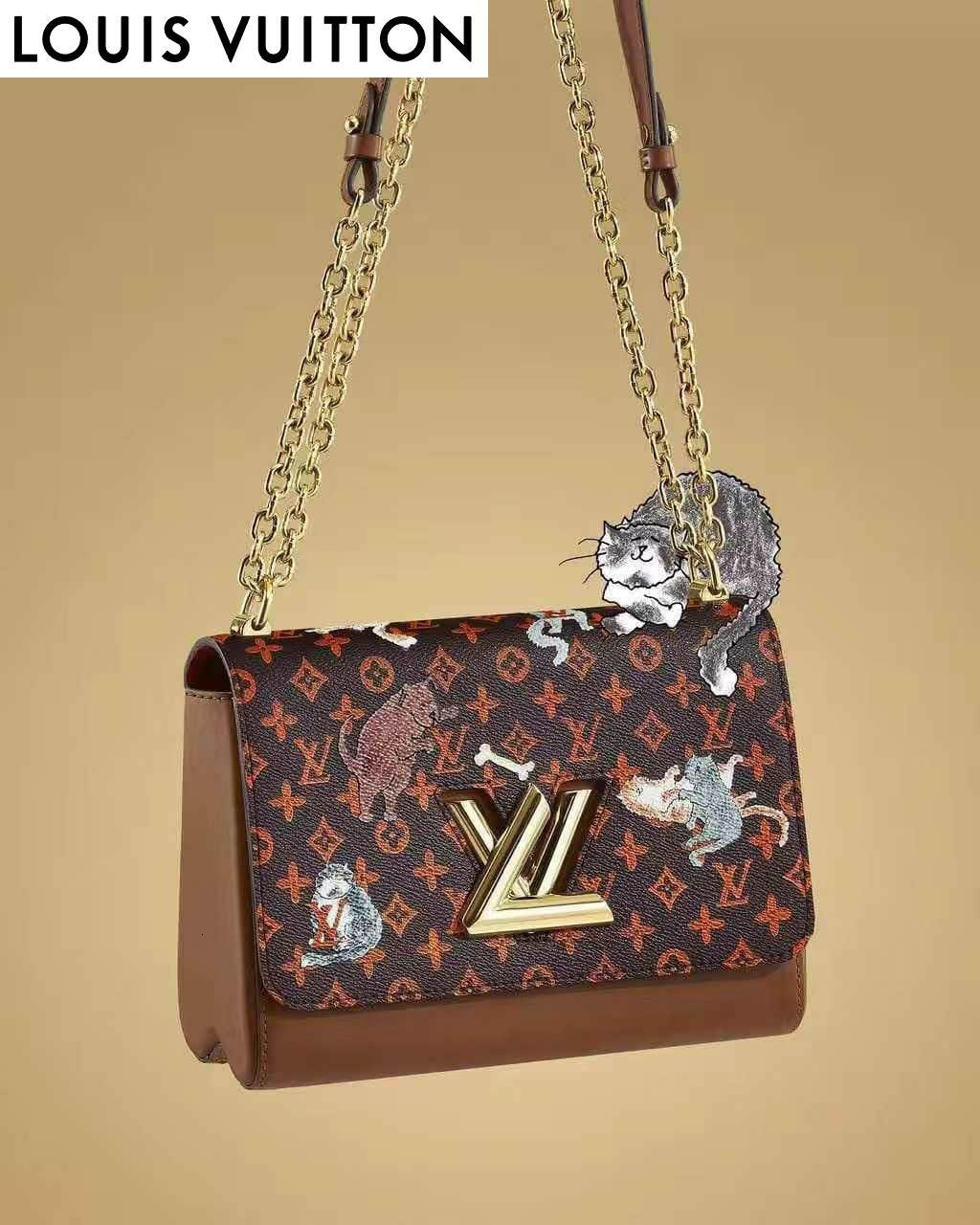 DCH4 Cat серии Twist Средние сумки M44408 ЖЕНЩИНЫ СУМКИ Iconic СУМКИ РУЧКИ Наплечные сумки TOTES CROSS BODY BAG КЛАТЧИ ВЕЧЕР