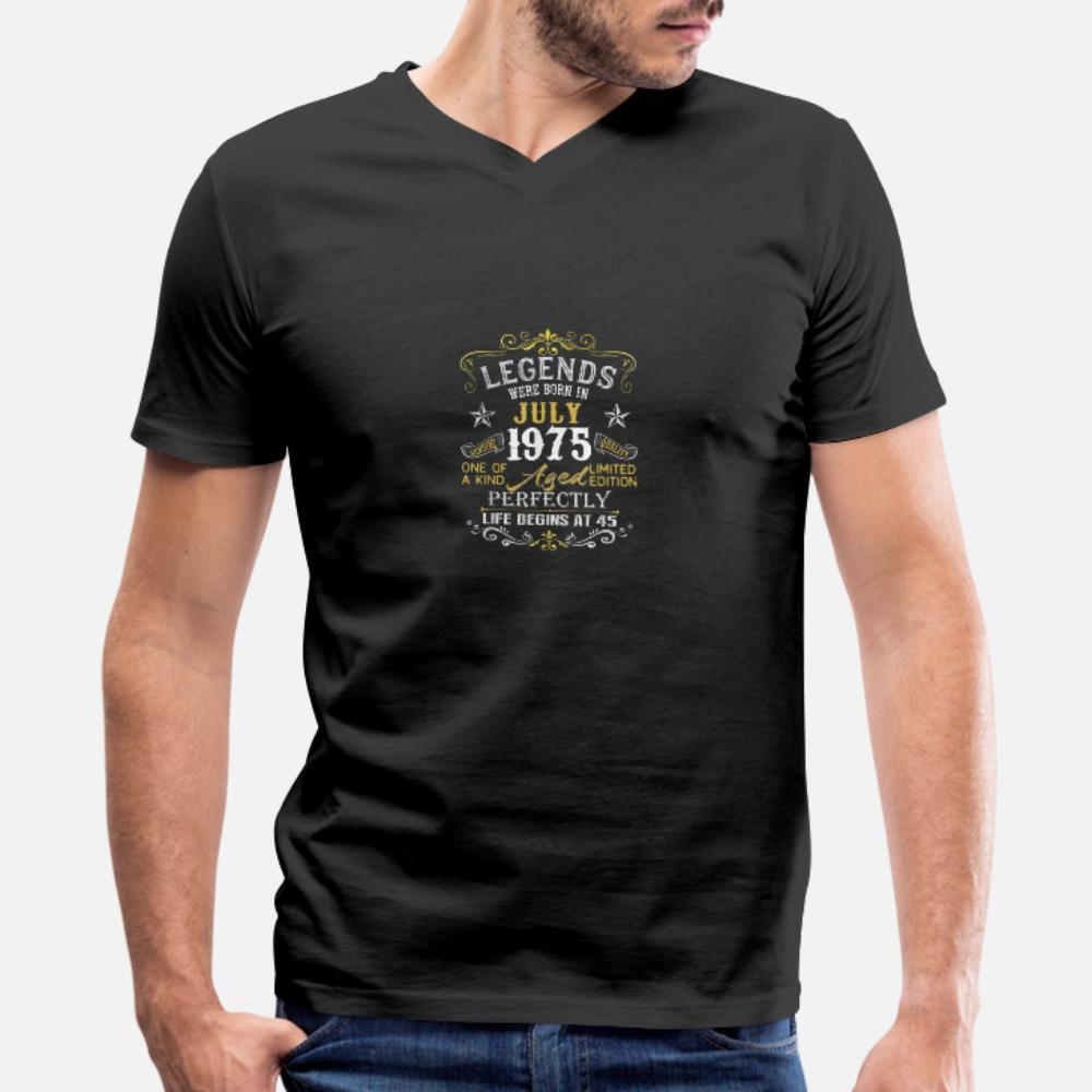 Leyendas nacieron en julio de 1975 45a regalo de cumpleaños hombres de la camiseta de algodón Diseños ronda camisa de cuello básico sólido respirable del resorte del equipo del otoño