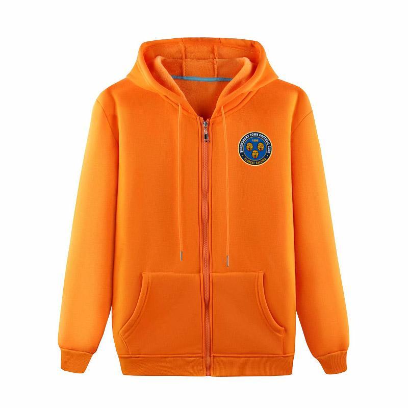 Shrewsbury Town 2020 moda pelusa de moda casual hombres deportes al aire libre de la chaqueta suelta de gama alta de la chaqueta de la cremallera de la chaqueta de fútbol de entrenamiento con capucha