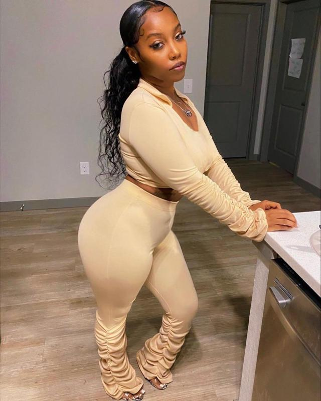 Women's Tracksuits Draped Turn-down Collar Solid Sexy V Neck Long Sleeve 2 Piece Set Stacked Leggings Pants Women Blouses Ladies Tracksuit