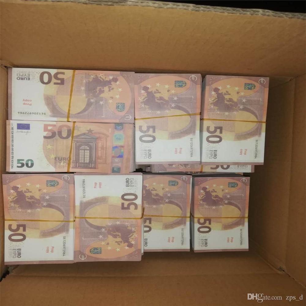 Новые 10 20 50 100 евро Поддельные деньги Заготовка фильмов Деньги Faux Goldet Евро 20 Сбор и подарки M07