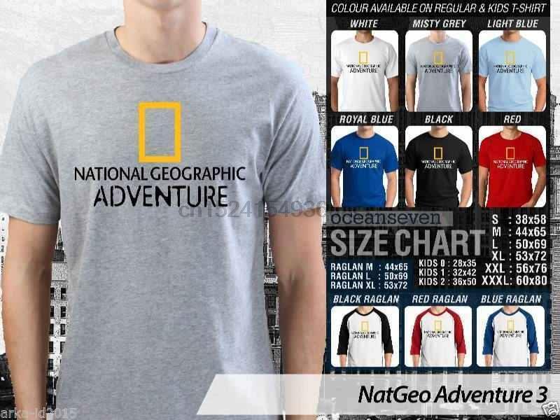 National Geographic Adventure Tişörtlü Birçok Renk Tasarım Seçeneği
