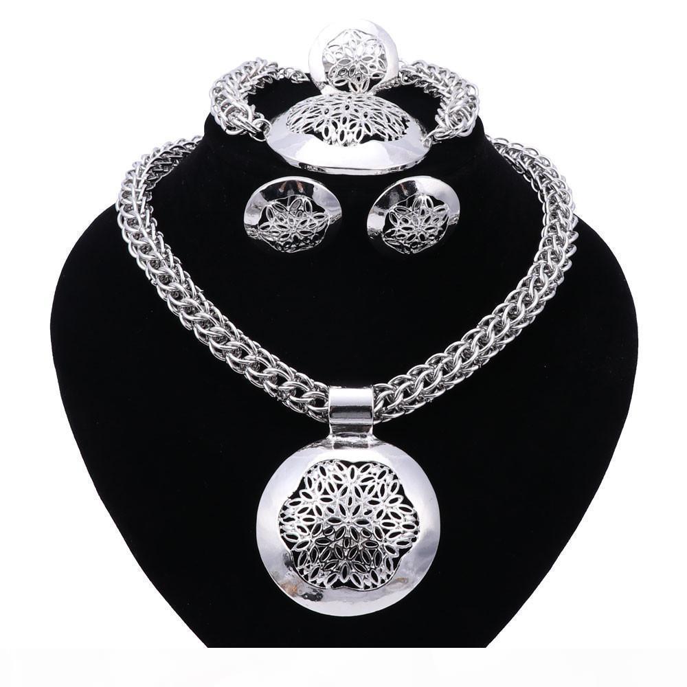 Ювелирные наборы партии Аксессуары Свадебных для женщин Африканского бисера Заявления цепи ожерелья серьги Браслет Fine Кольцо Наборов
