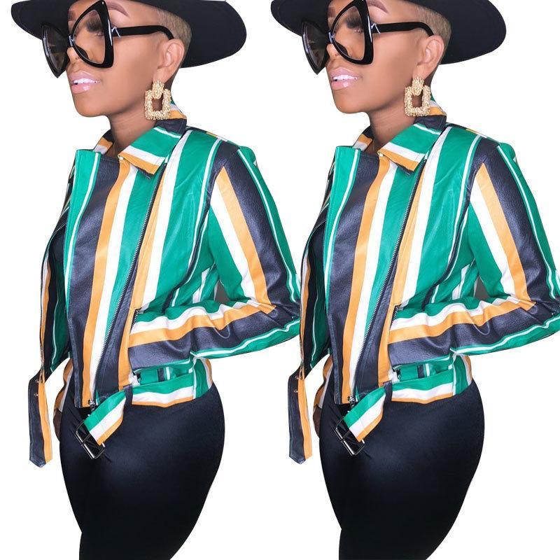 2020 Giacche molla donne di estate Turn-down Collar completa manica High Street a strisce sexy Night Club cappotti slim Jackets GL92 Nero Verde