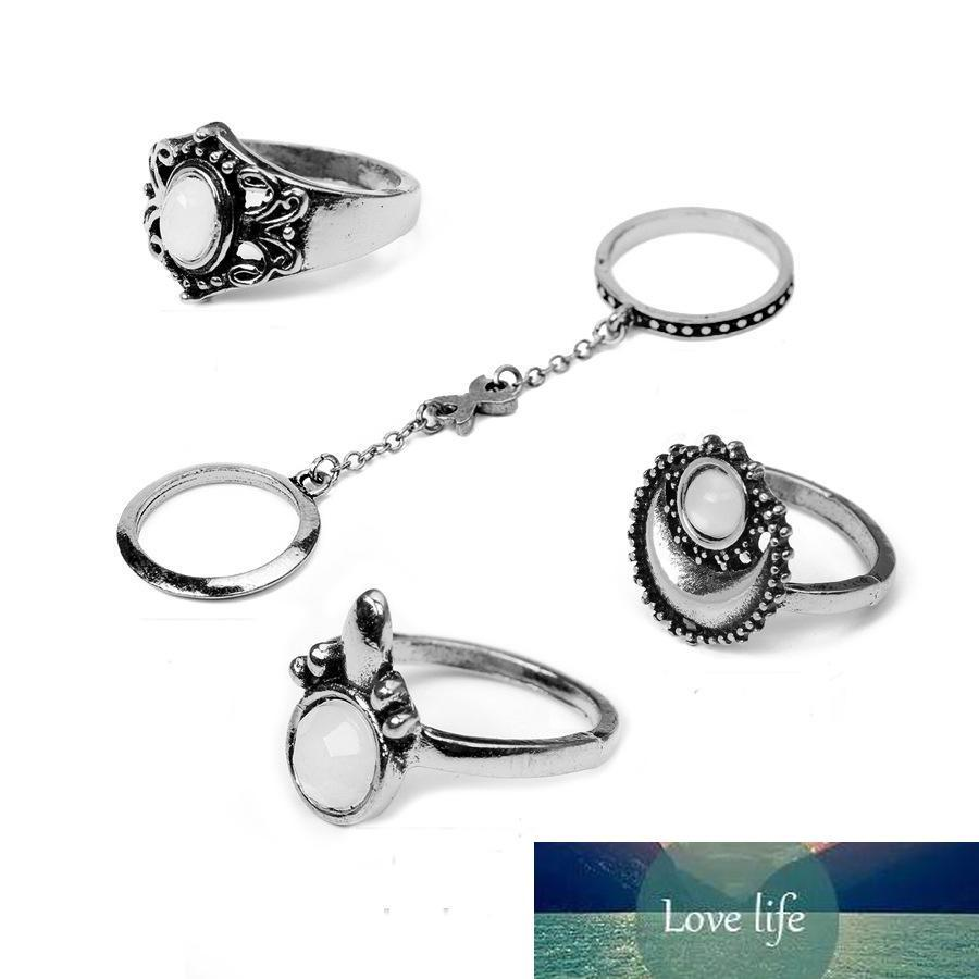 5Pcs/Set Fashion Gypsy Vintage Silver Golden Plated Stone Finger Ring Kncukle Rings