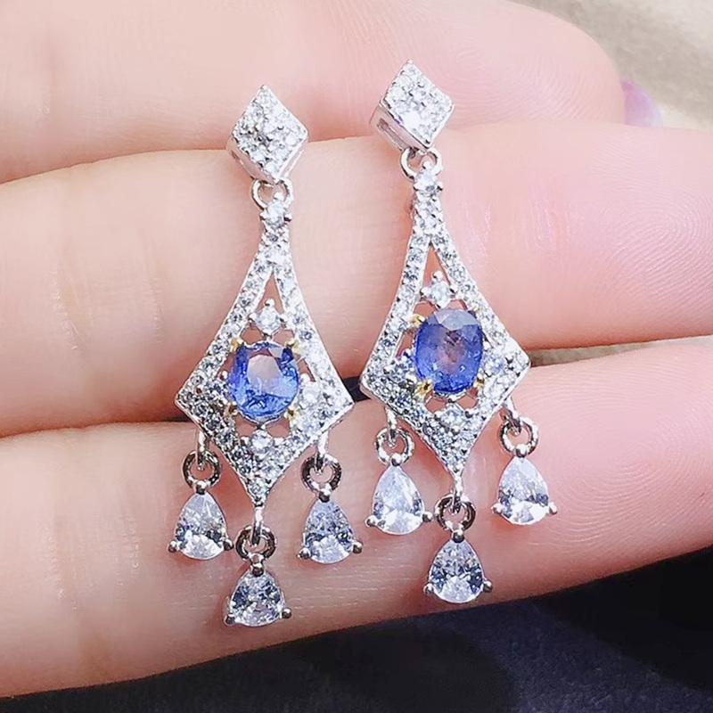 Luxury 925 Silver Blue Sapphire Wedding Engagement Drop Dangle Earrings Jewelry