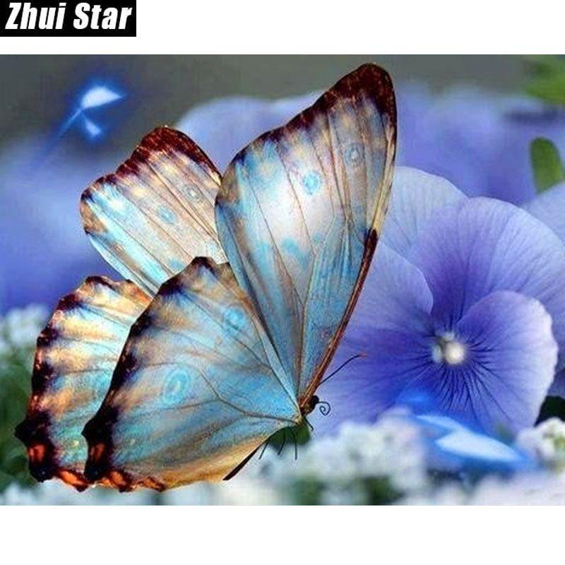 "Zhui Stern 5D DIY voller Platz Diamant-Malerei ""Butterfly Animal"" 3D-Stickerei-Kreuz-Stich-Mosaik-Gemälde Home Decor Geschenk BK"