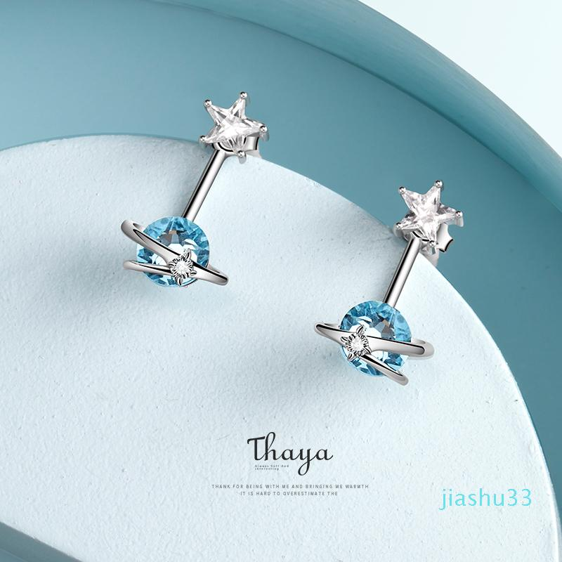 Hot Sale Thaya Fantasy Jewelry Design Earring 925 Silver Bohemia Blue Zircon Earring for Women Special Design Fashion Jewelry