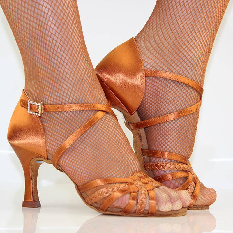 Latin Tanzschuhe Frau Erwachsener weiche Unterseite Ahle hohe Heel Salsa Square Dance Schuhe BD Latein Schuhe Original 2360-B importiert Satin