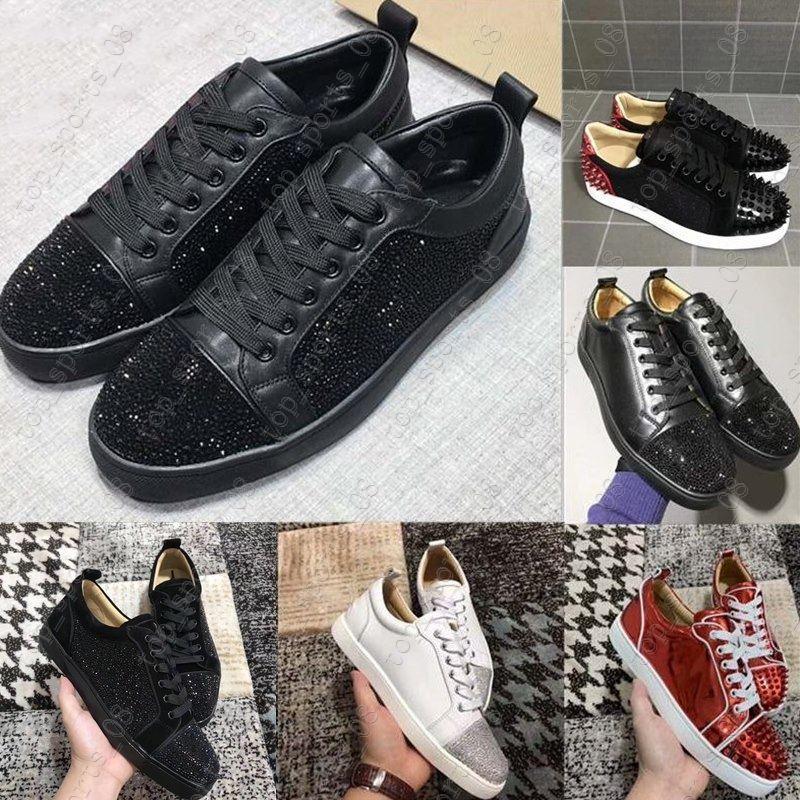 السفينة حرة مصمم بيع الأحمر أسفل الأحذية انخفاض قطع المسامير شقق للرجال جلد النساء حذاء رياضة حذاء عرضي مع حقيبة الغبار