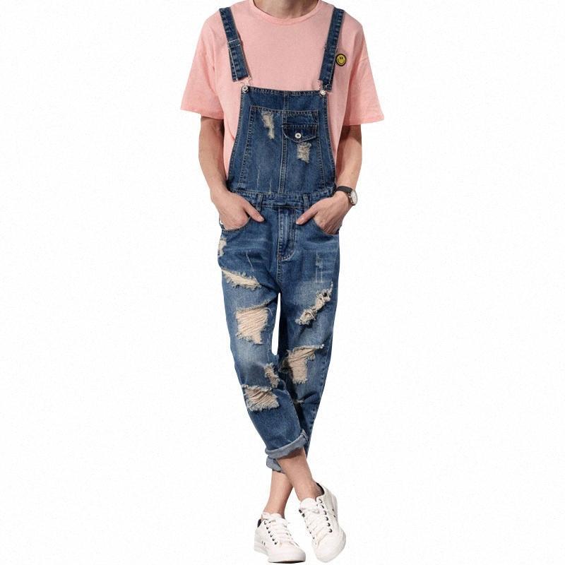 uomini dei jeans 2019 nuovi Mens di Salopette denim di modo Tuta uomini jeans strappati maschio tuta del denim Tooling pantaloni di formato S-6XL ZCeG #