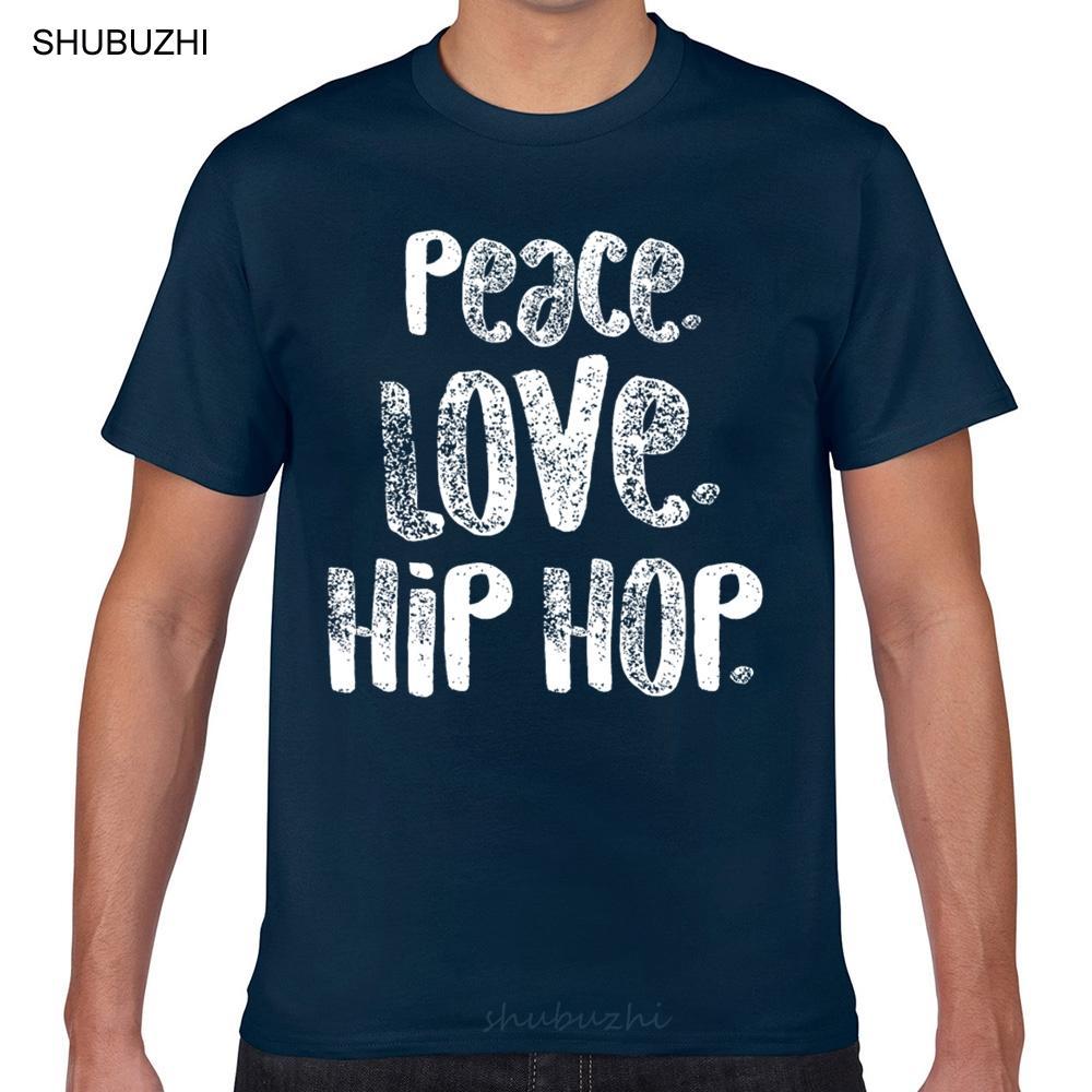 Tops T-Shirt Männer Hip Hop Peace Love Weiß Tänzer Licht Mode Weiß Aussenseiter-Druck Male T-Shirt