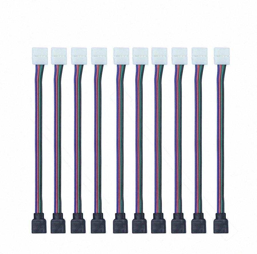 Gros-10pcs / Lot 4 broches 10MM Led RVB Connecteur de fil femelle Câble pour 3528 / SMD non-étanche RGB LED Light Strip 8YSx #