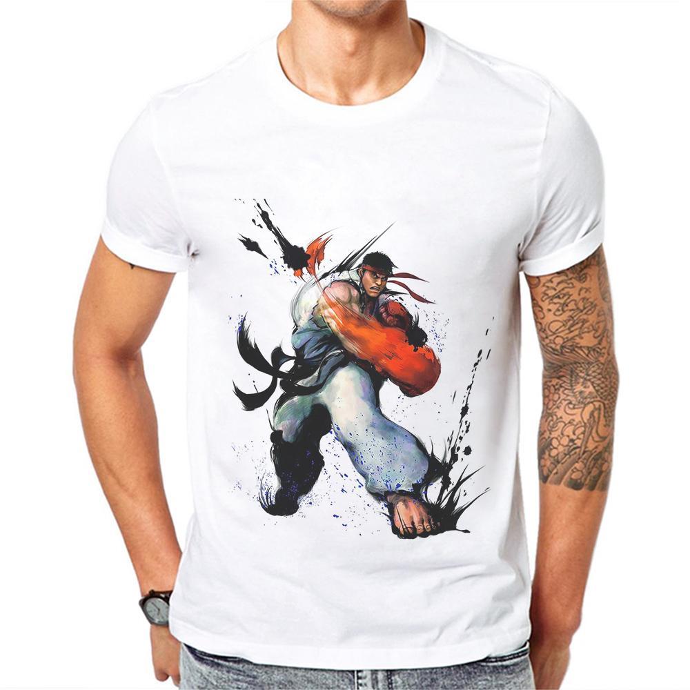 Herren-T-Shirts O-Ansatz Kurzarmshirts Kampfspiel-Druck-Mann-T-Shirt Fashion Tee Street Boxen T-Shirts poleras Hombre