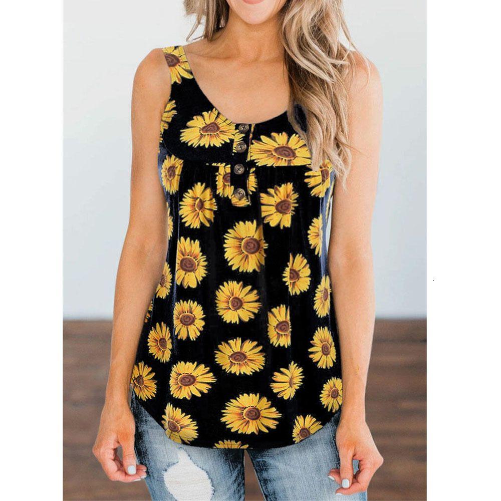 2020 Nouveau Femmes Imprimé Tournesol T-shirt d'été Mode Sleevel V Ne T-shirt Tops taille plus S-5XL WDC4471