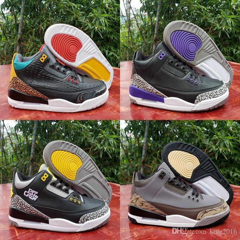 3 2020 neue Mens-Basketball-Schuh-3s Animal Instinct 2.0 Court Lila Pit Crew Jumpman-Sport-Trainer-Turnschuhe des Chaussures Größe 13