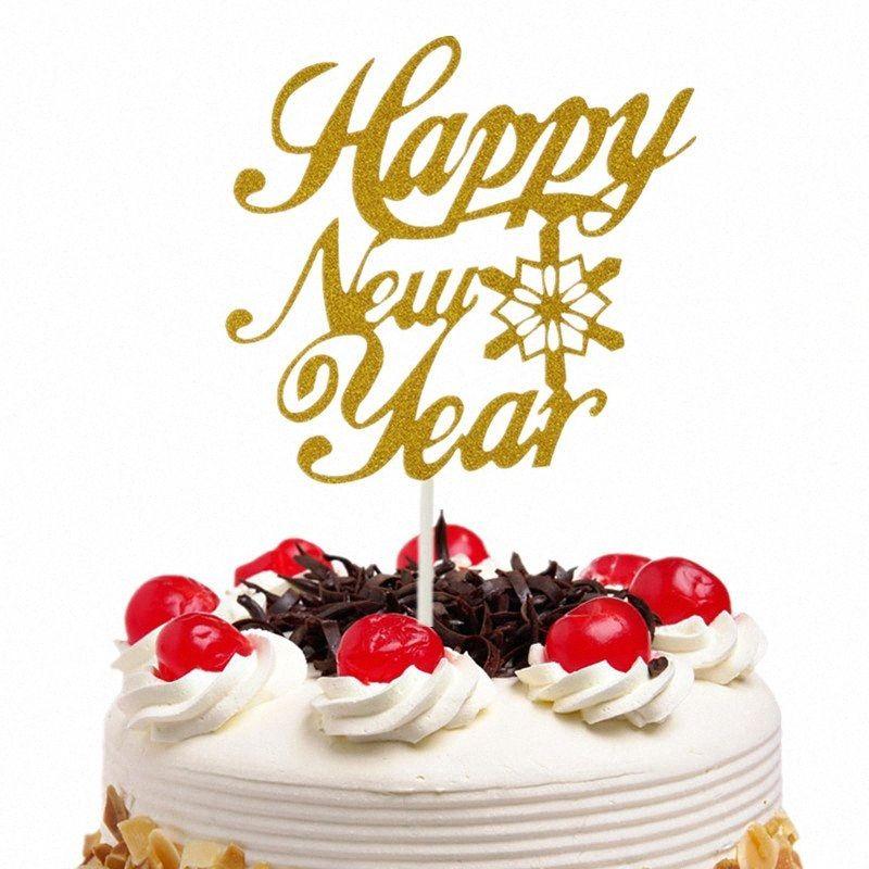 20pc / lot Kek Toperler Bayraklar Glitter Kağıt Cupcake Topper Çocuk Doğum Düğün Yeni Yılınız Kutlu Olsun Partisi Bebek Pişirme DIY Noel hljx #