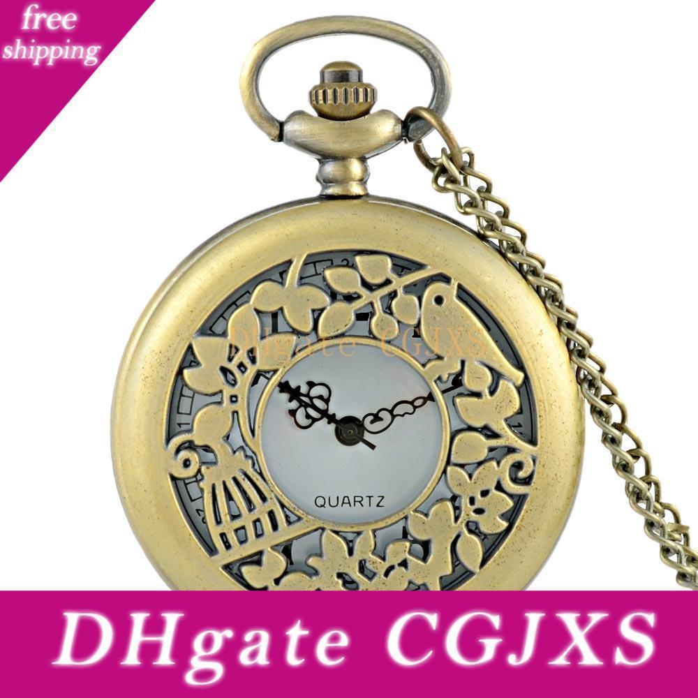 New Arrivals Bronze Birds Hohle-Quarz-Taschen-Uhr-klassische Weinlese-Mann-Frauen-Anhänger Halskette Geschenk