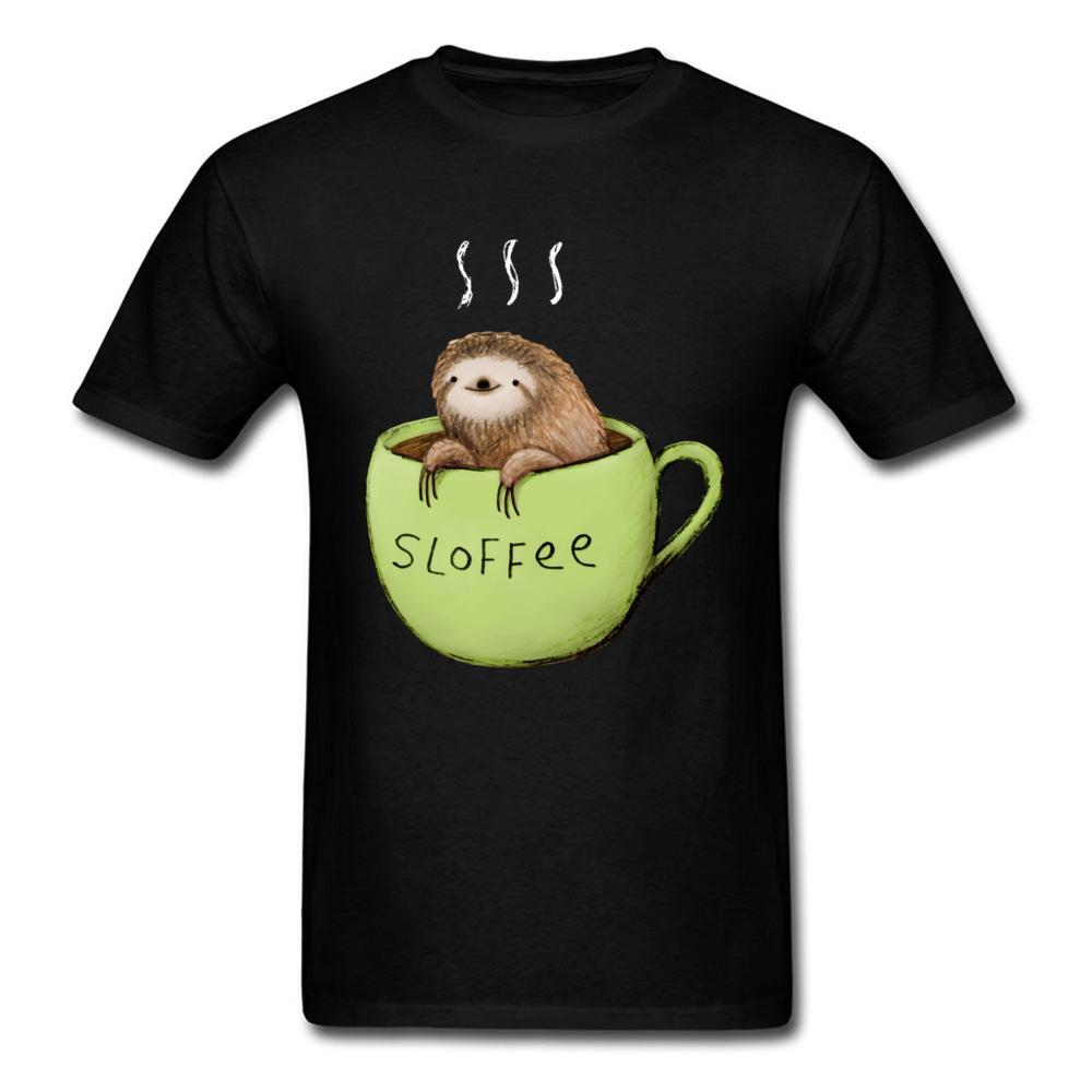 Bonito Sloth impresso em Homens T shirt verde engraçado Top Marca Hipster camiseta Outono Inverno Roupas Rodada T-shirt Colarinho Branco