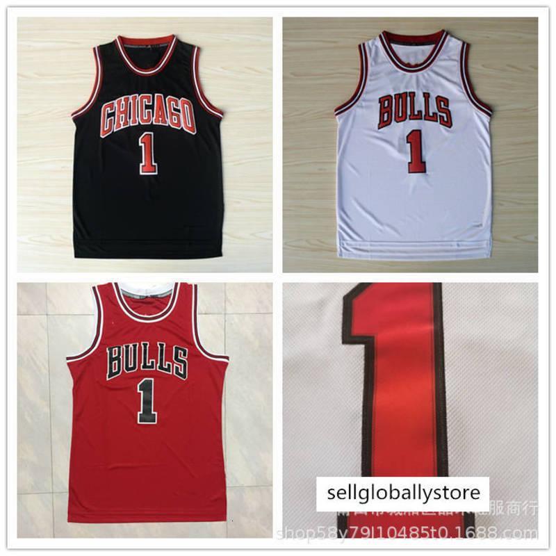 toros Jersey # 1 Rose Rose camisa bordada de baloncesto