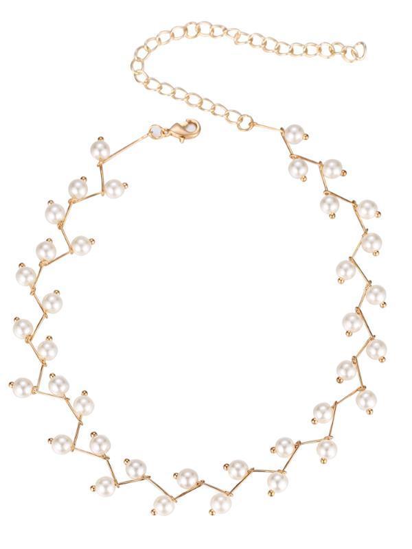 285ZHAO renk Kısa paragraf basit inci clavicle zincir Boyun kolye Kadın Yaratıcılık öğrenci Mücevher seçim