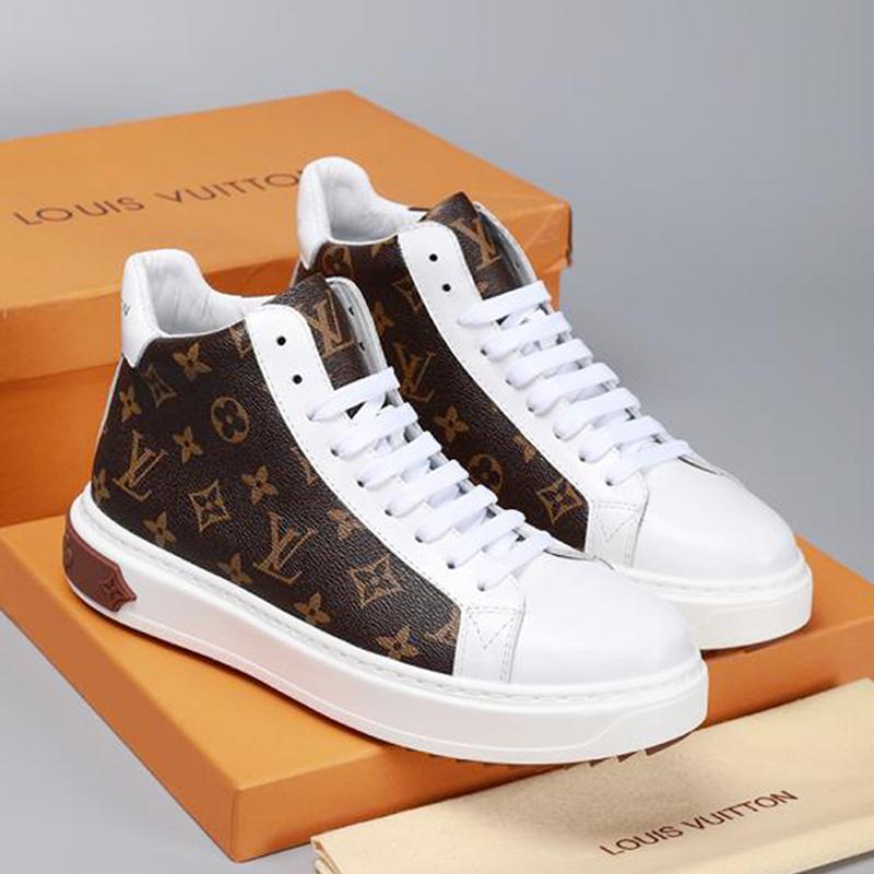 2019w imprimés rayures haut top Chaussures Hommes Casual top chaussures de sport de luxe de qualité en cuir véritable lacent Chaussures Hommes Casual taille 38-46 0026