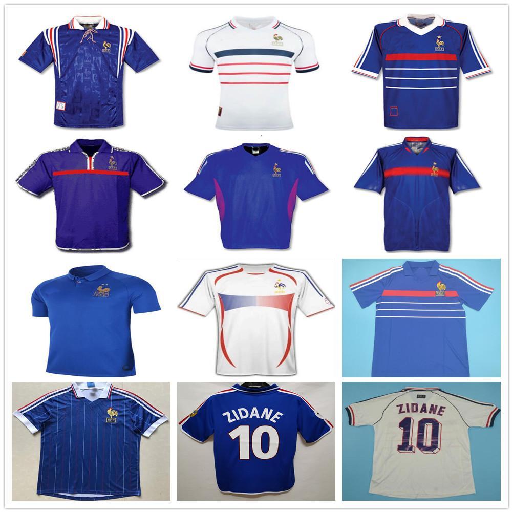 1998 2002 Retro France Soccer Jersey ZIDANE HENRY TREZEGUET PIRES DESCHAMPS maillot de foot Vintage 96 98 00 02 04 06 Custom Football Shirt