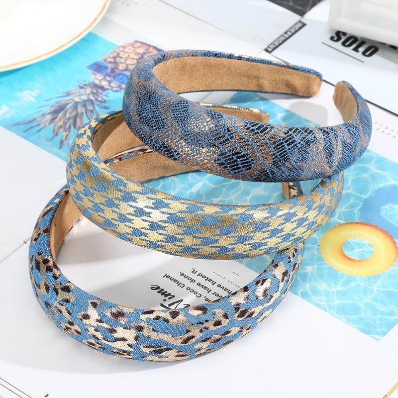 AWAYTR nueva esponja de relleno patrón de la serpiente bandas del pelo de la venda del leopardo del pelo del aro de Houndstooth Accesorios de Moda Mujeres
