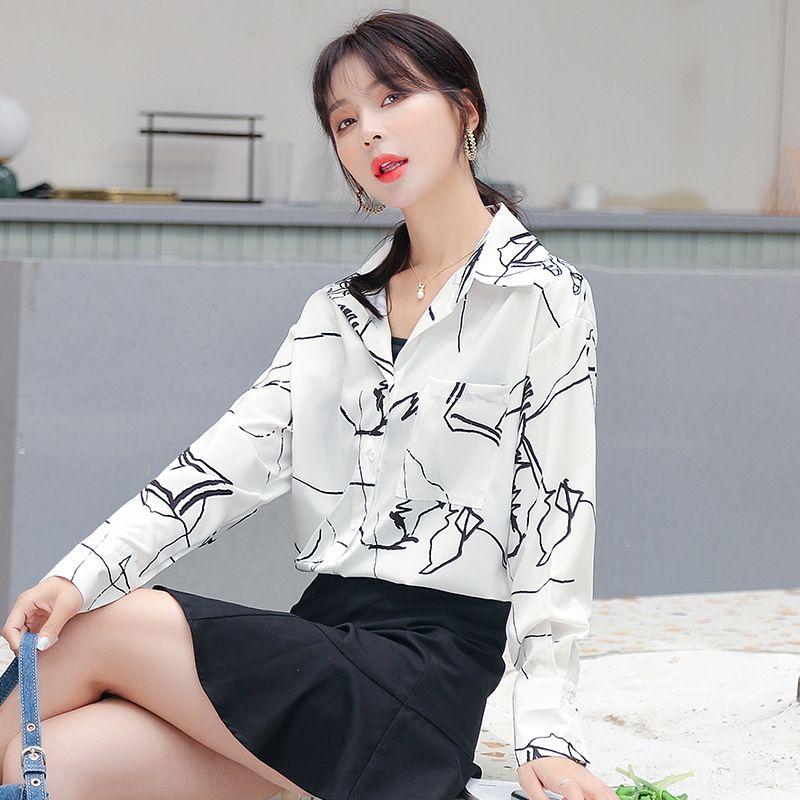 tMpHe Giovane casuale nuovo 2020 shirt estiva da donna TzqCB stile di nicchia risvolto maniche lunghe alla moda slaccia la camicia stampata
