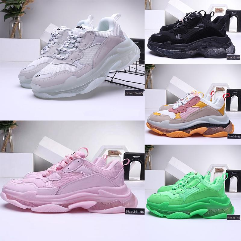 Balenciaga Triple-S shoes Crystal sole Luxury Brand ثي الصورة حذاء رياضة للرجال والنساء أسود أحمر أبيض أحذية رياضية عادية الخضراء أبي أحذية التنس زيادة 36-45