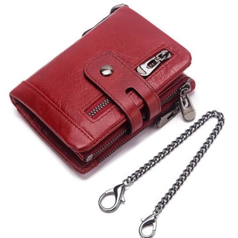 Nouveau cuir véritable femmes Wallet Femme Couleur Rouge Porte-monnaie Petite Walet Portomonee Fermeture éclair et argent Sac Lady Mini Porte-cartes