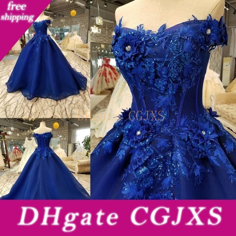 Marine-Blau Quinceanera A Line 3D Blumen SpitzeAppliques Korn formales Kleid 2020 weg von der Schulter Korsett-Abend Abendkleider