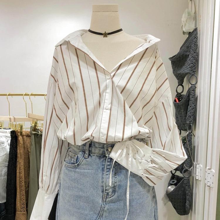sOZ7K wr2LL Тондэмун женской рубашки одежда 2020 весна и ленивые Нового летнего полосатой манжета стиль стиль ремня Hong Kong свободный длинный рукав Шир