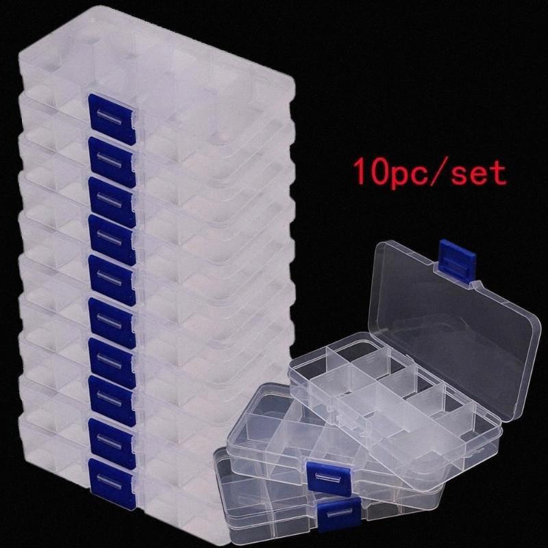 Piezas de la caja caja de herramientas Tornillos granos de la joyería IC Pesca componente del organizador del almacenaje de contenedores o6Jk #