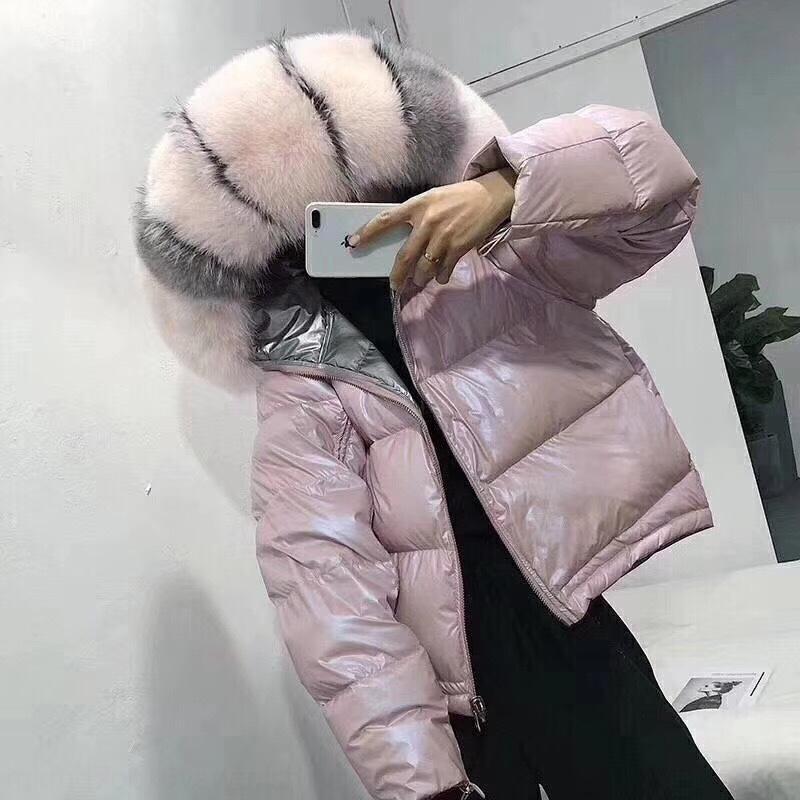 DcQ8l Fox мех большой меховой воротник двухсторонний пуховик пуховик и хлеб 2019 Корейский стиль хлеб пальто женщин shortseason специальное предложение