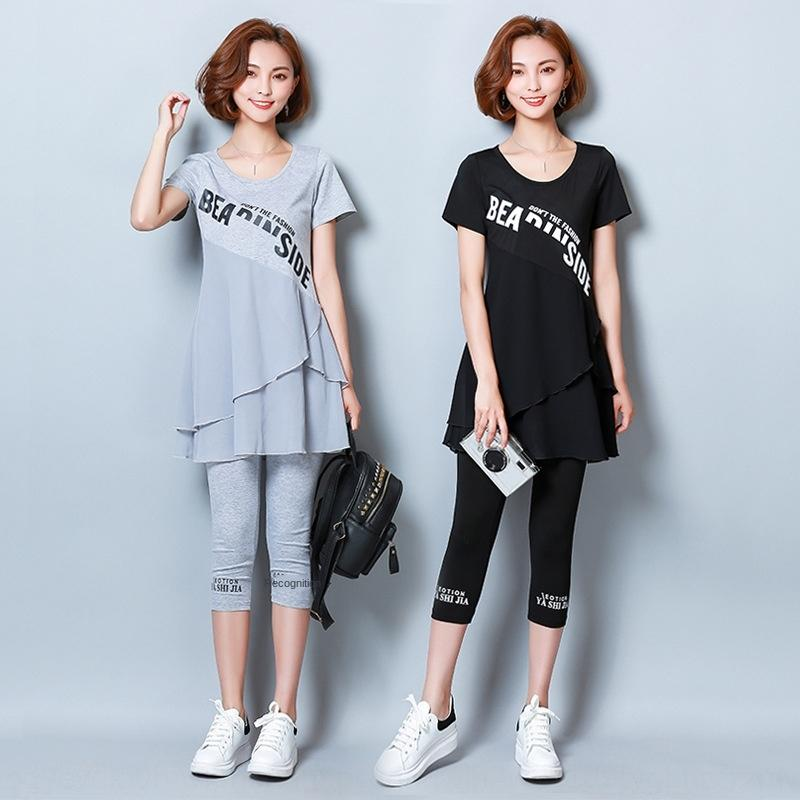 Printemps et d'été nouveaux grands pantalons femmes de taille conviennent des vêtements à la mode style coréen lettre impression minceur en mousseline de soie pantalons Capri fonction WOwf
