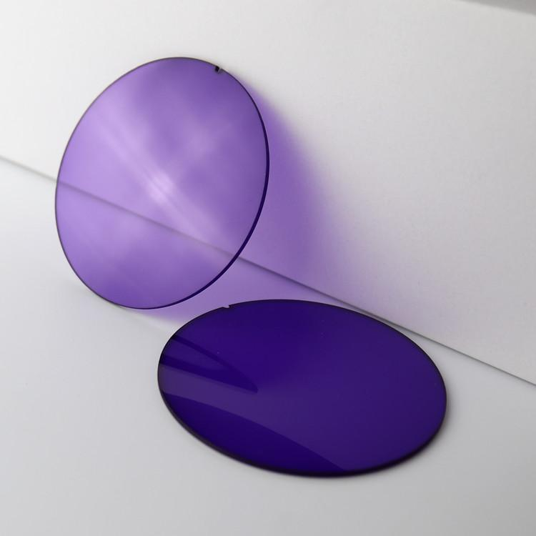 Violet Sonnenbrille Objektive 75 mm Basiskurve 2 EXIA OPTICAL E3-Serie