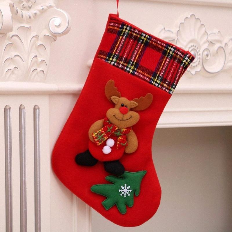 2019 Nouveau cheminée Ornements Grands Chaussettes Trois Dimensionnelles Noël Stocking Santa Claus Bottes Chaussette Plaid Home Noël Sacs gros ornements UTKT #