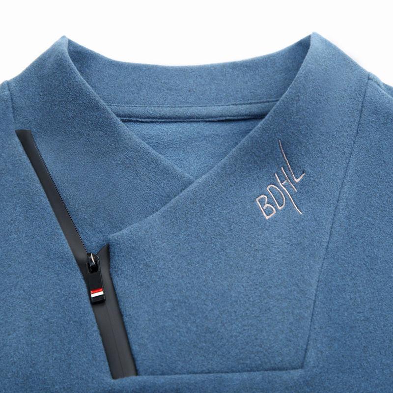 2020 мужчин воротник теплого дна рубашка флис с длинным рукавом футболки осенью и зимой новой моды одежды