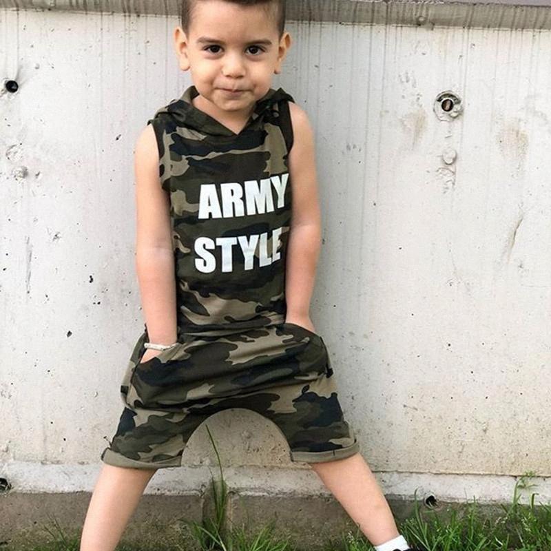 2adet Erkek Bebek 1T-5T Giyim Kamuflaj Kapşonlu Kolsuz Tişört + Kısa Pantolon Kıyafet Yaz Giyim 5xKc #