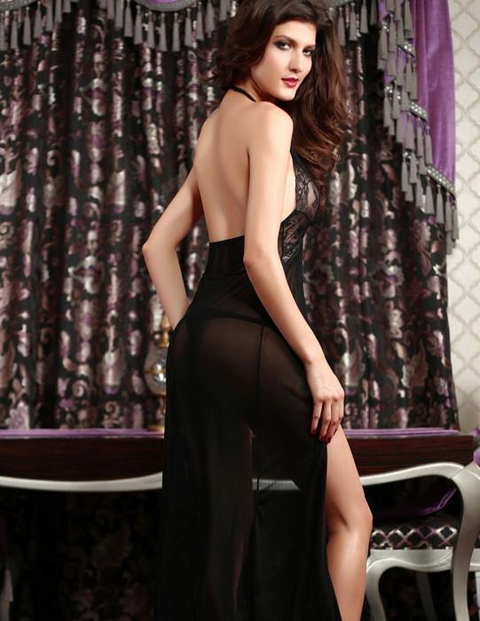 la ropa interior de encaje de cuello negro de la ropa interior de encaje pijama pijamas atractivos del camisón atractivo de largo más tamaño f8QxI