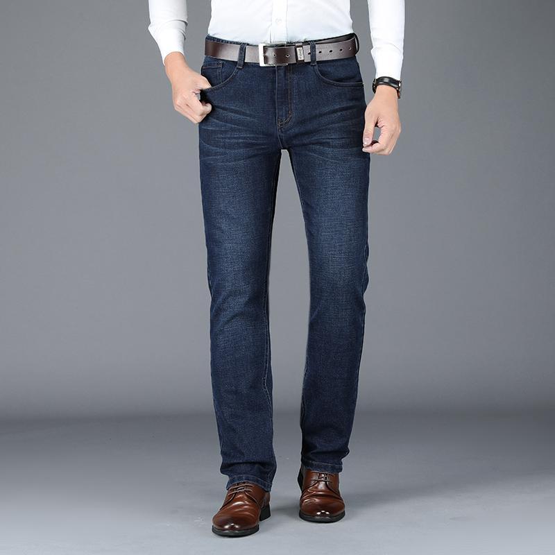 BROWON 2020 Autunno Inverno uomini sciolti Jeans New Soft Spesso Etero intelligenti pantaloni casuali degli uomini pantaloni in denim Affari Mid Jeans Uomo