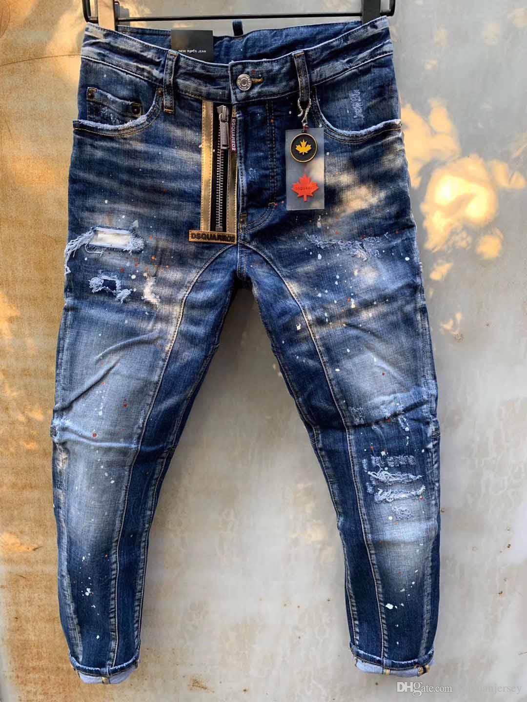نماذج الانفجار قطعة قماش مطاطا مايكرو الأوروبية والأمريكية شارع الأزياء العلامة التجارية D2 جينز جودة الرجال غسل أحدث تصميم بيك اب