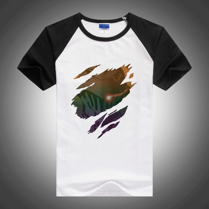Графический Мужчины Tshirt Встань Sketch Призрак в доспехах футболках Streetwear MEN Одежда Harajuku японского аниме Мужской футболки