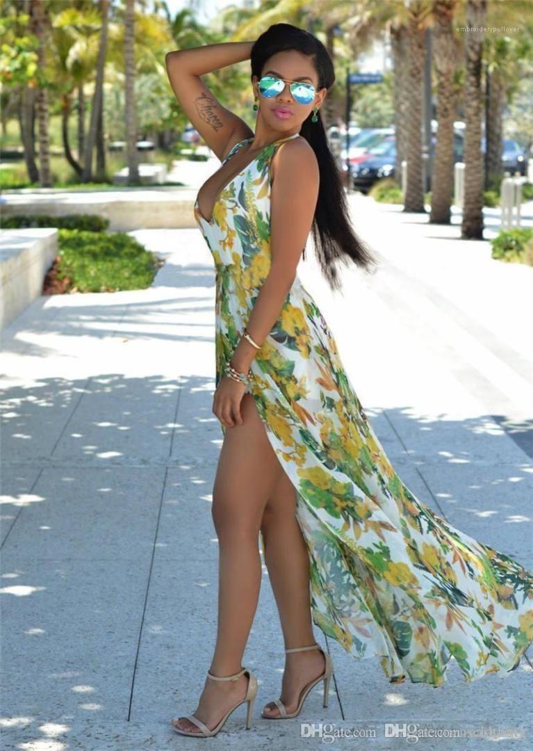 Maxi Elbiseler Kadın Yeni Uzun Parti Elbise şifon Backless Flora Baskılı Kadınlar dizayn edilmiş elbiseler Yaz Kadın