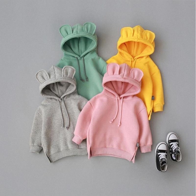 1-3yrs Frühlings-Baby-Sweatshirts Tops Baumwollsäugling Kinder Kapuzen-3D-Ohr-Sweatshirts Herbst Newborn Boyes Mädchen Kleidung DYDr #