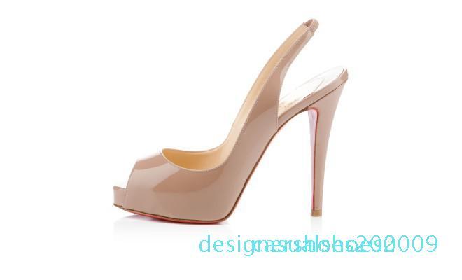 29 Classic Red Sole chaussures de talons hauts de mariage en cuir verni Femmes Hommes Marque Rouge Bas Plate-forme peep-orteils Sandales Designer Robe D09