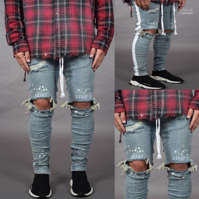 Zipper progettista dei pantaloni Mens Fori 19ss Jeans Primavera Estate Strappato a strisce Pantaloni Uomo Pantaloni a sigaretta