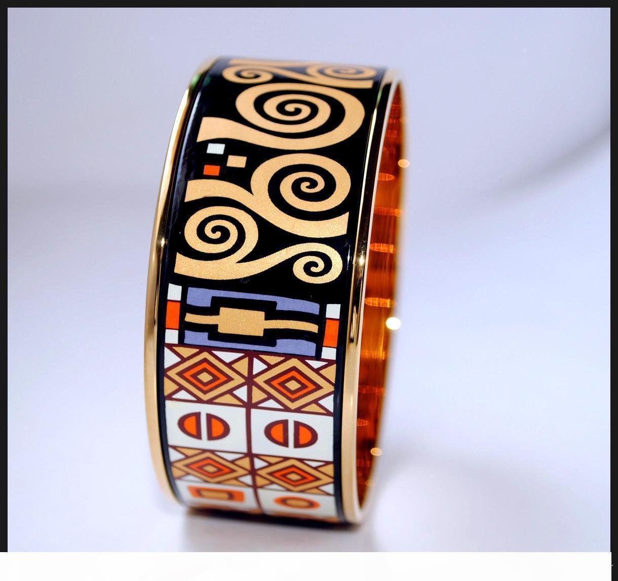 Klimt Series banhado a ouro 18K esmalte pulseira de pulseiras mulher de qualidade Top pulseiras largura acessórios 30 milímetros de jóias Moda