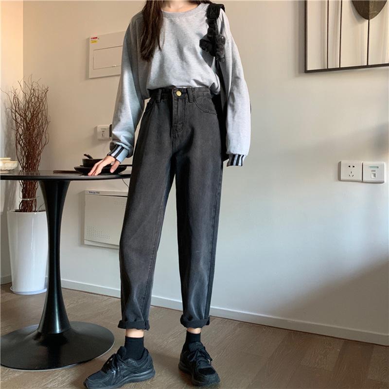 Весна / лето 2020 9-точечного прямых джинсы женского размера Hong Kong стиль высокой талия тонкого жир мм потерять Joker Torre штаны